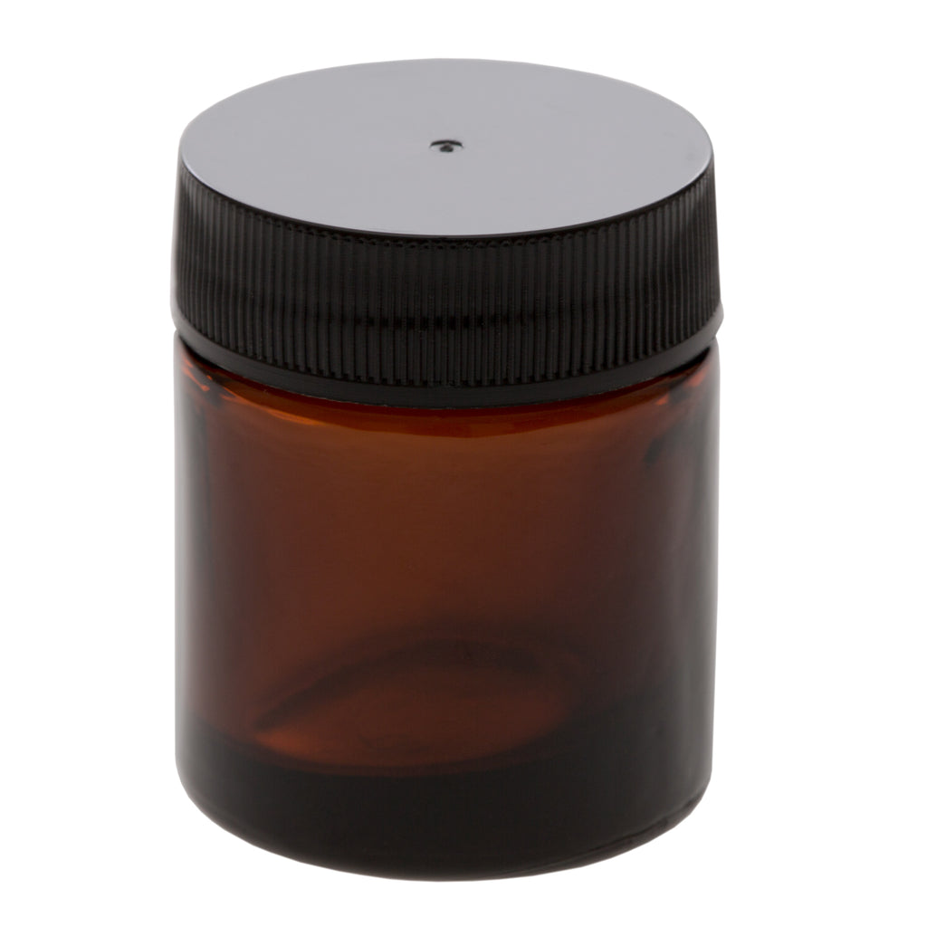 15 ml Amber Glass Jar with 33-400 Black Ribbed Cap