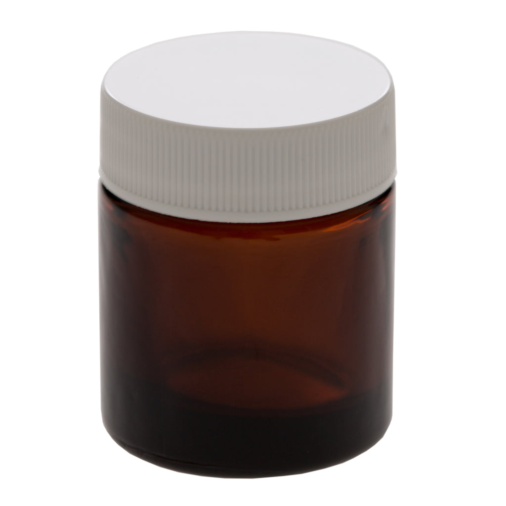 15 ml Amber Glass Jar with 33-400 White Ribbed Cap