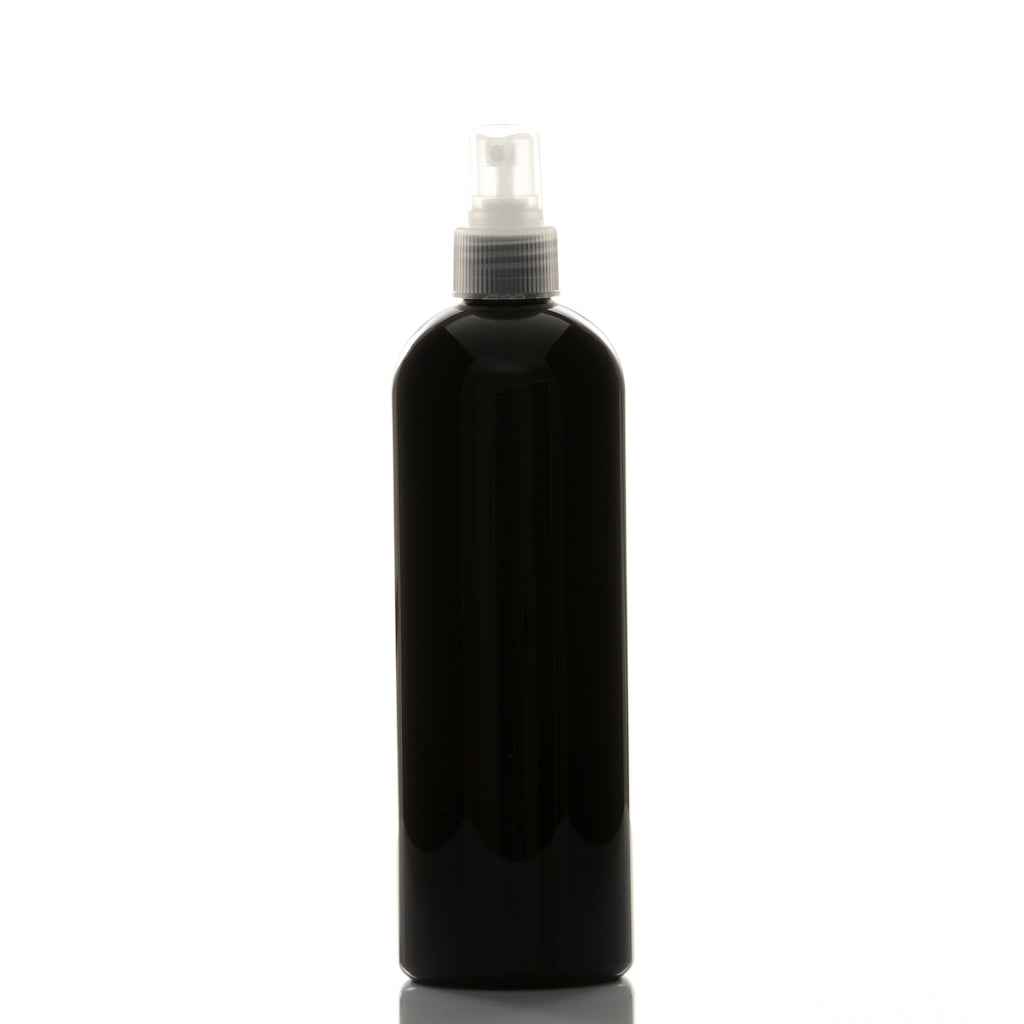 16 oz Black Cosmo Round with 24-410 Natural Fine Mist Sprayer