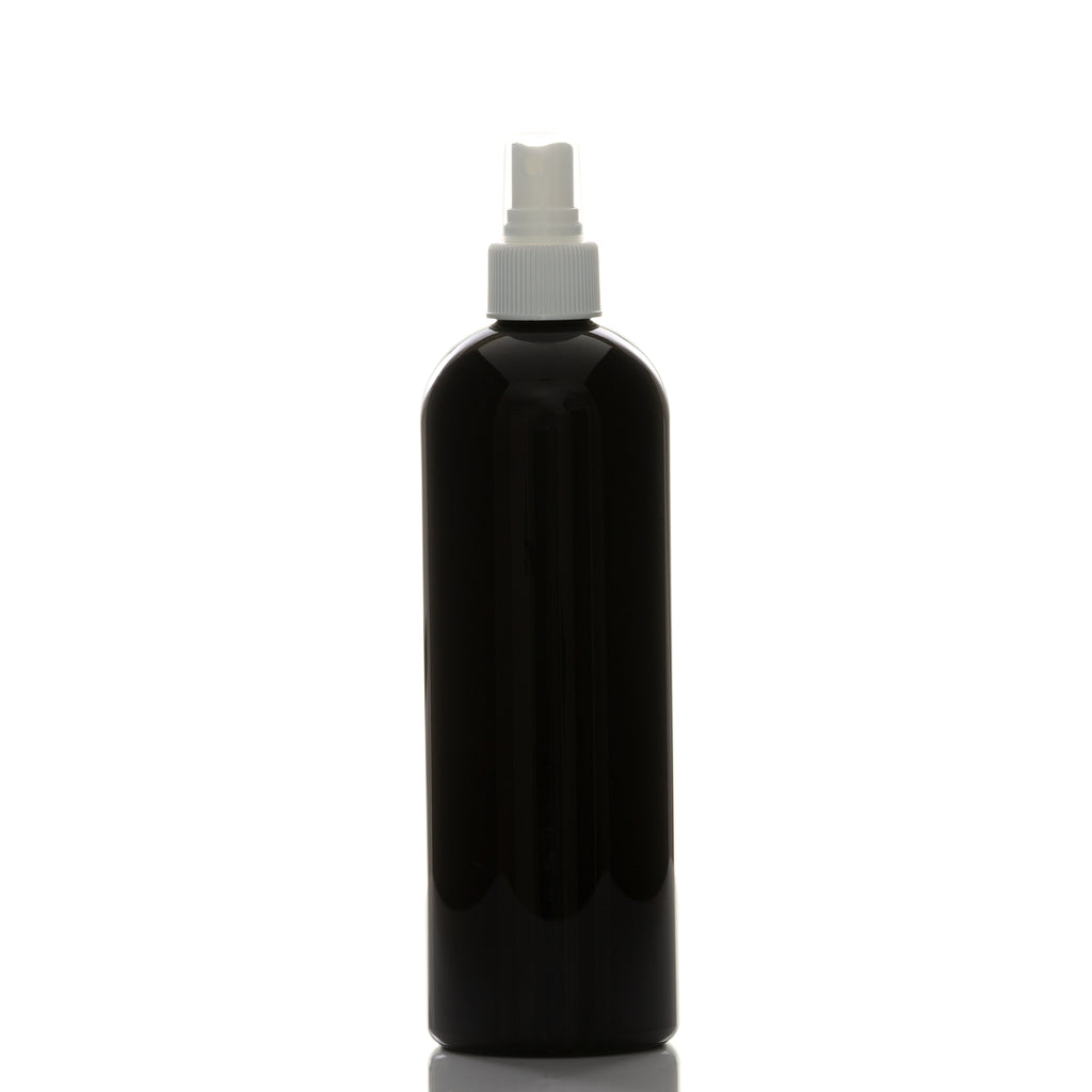 16 oz Black Cosmo Round with 24-410 White Fine Mist Sprayer