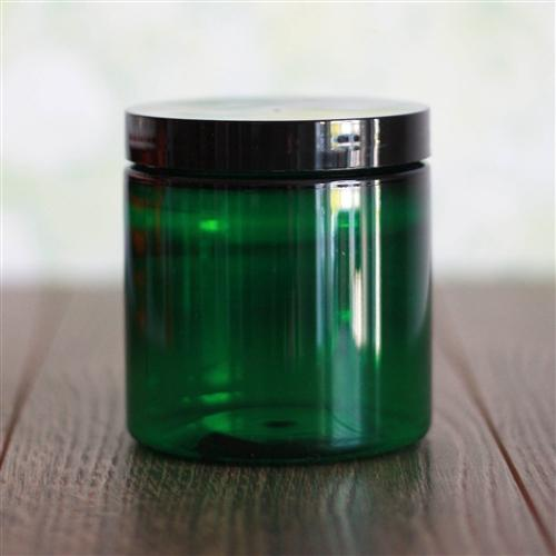 8 oz Green Jar with Black Gloss Cap