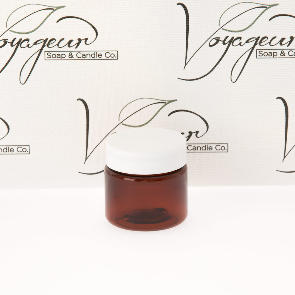 1 oz Amber Straight Sided Jar with White Flat Gloss Smooth Cap