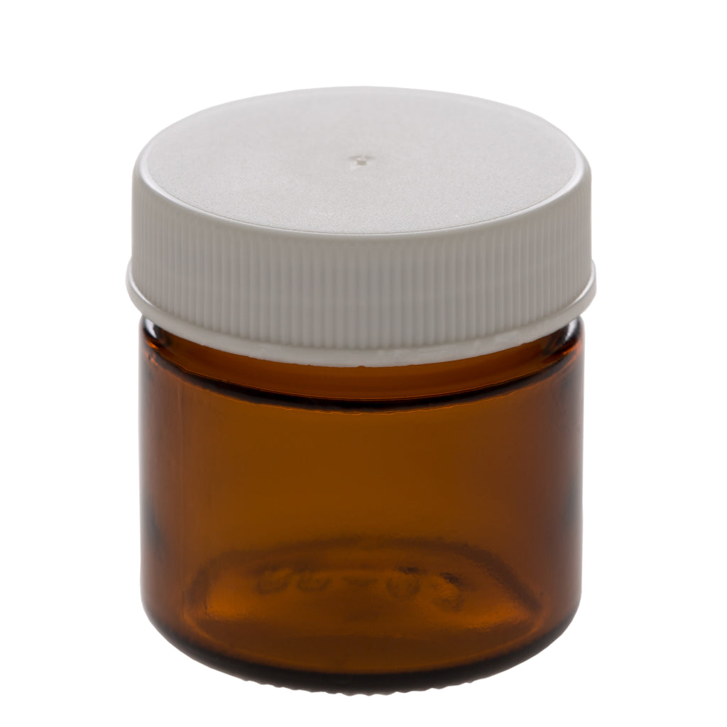 25 ml Amber Glass Jar with 38-400 White Ribbed Cap