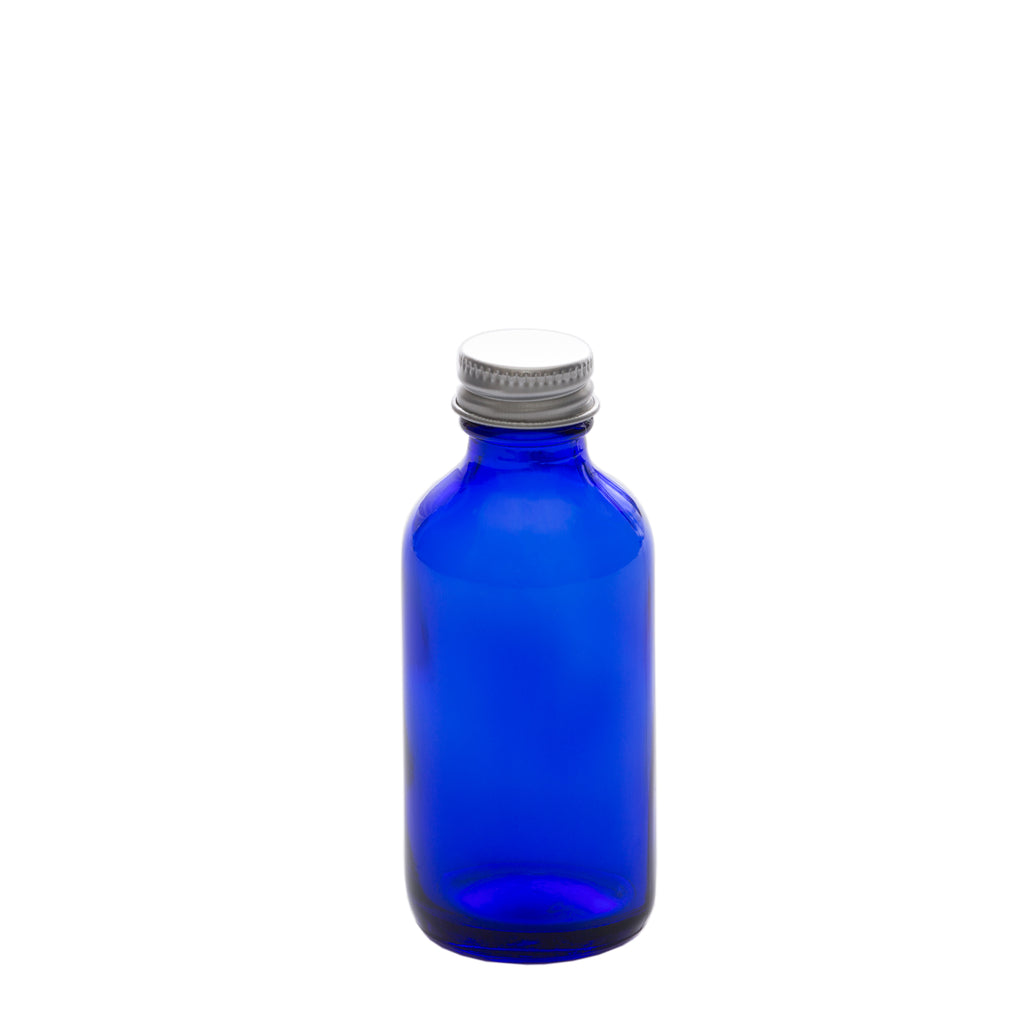 2 oz Blue Glass Bottle with 20-400 Aluminum Cap