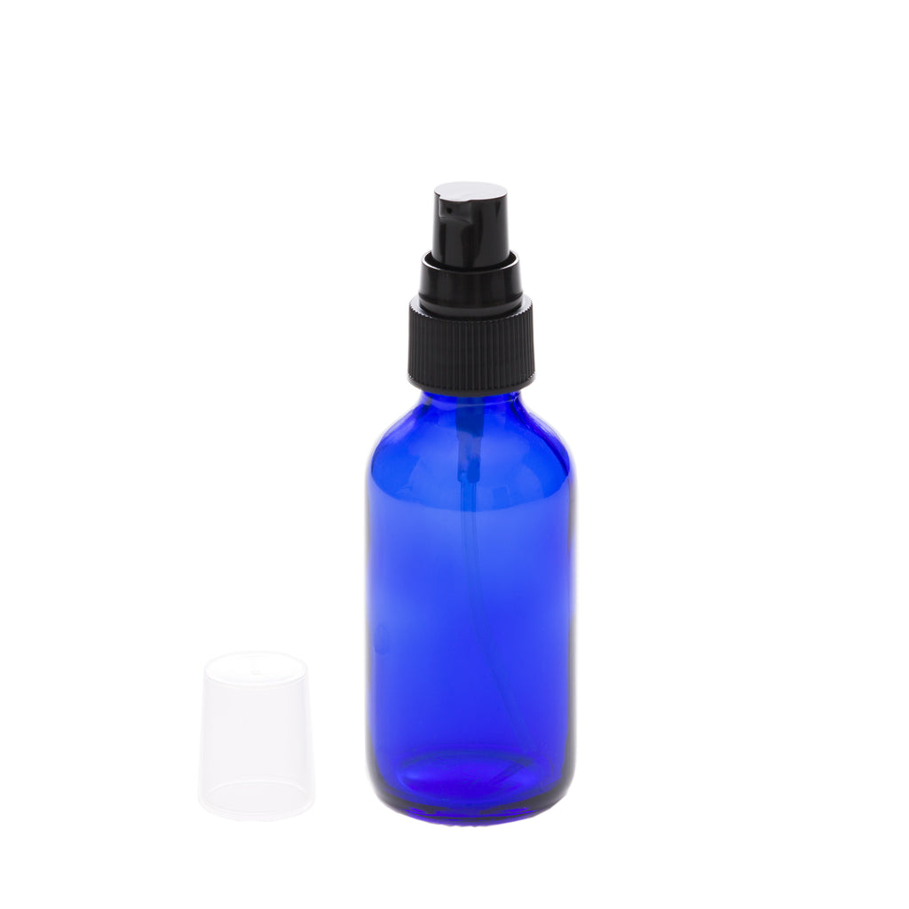 2 oz Blue Glass Bottle with 20-400 Black Treatment Pump