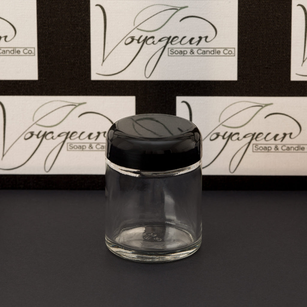 2 oz Clear Glass Jar with Black Dome Cap