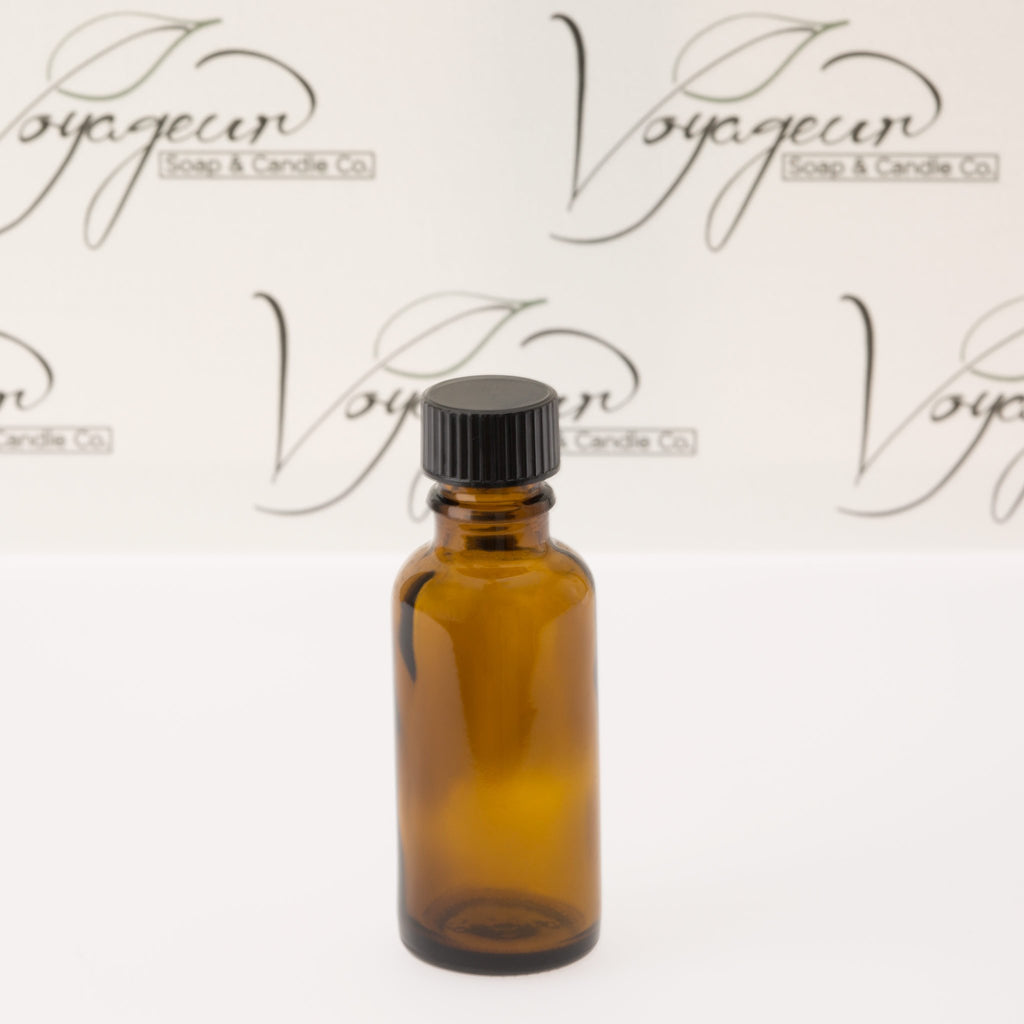30 ml Amber Essential Oil Bottle with Black Phenolic Cap