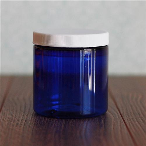 8 oz. Straight Sided Blue Jar with White Ribbed Flat Cap