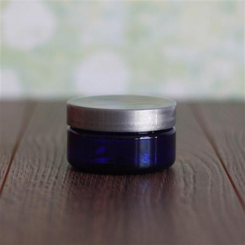 2 oz. Shallow Blue Jar with Silver Gloss Flat Cap