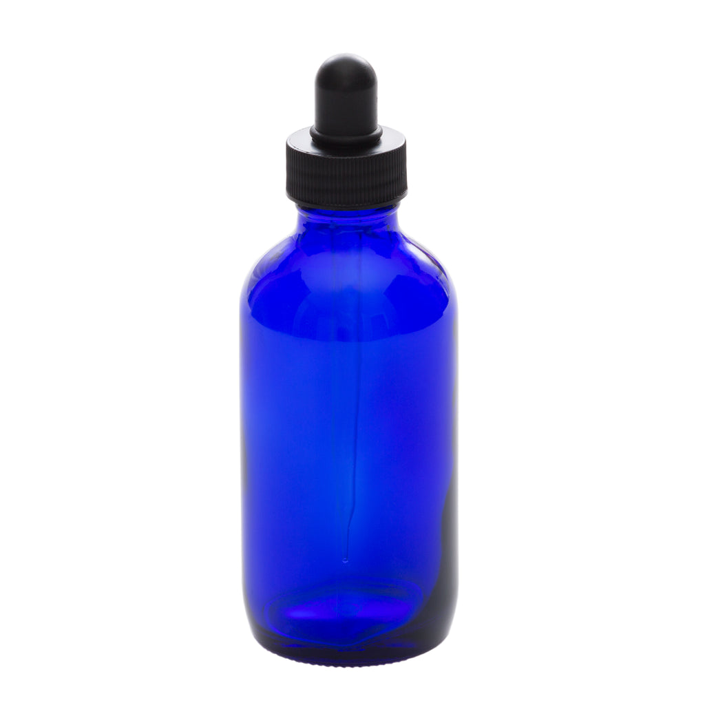 4 oz Blue Glass Bottle with 100 ml Glass Tube Dropper