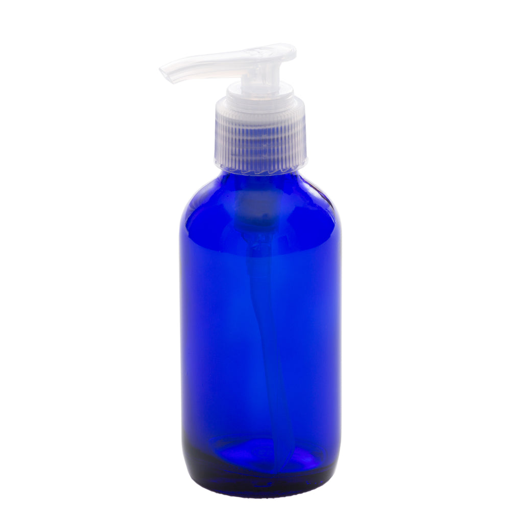 4 oz Blue Glass Bottle with 24-410 Natural Saddle Pump