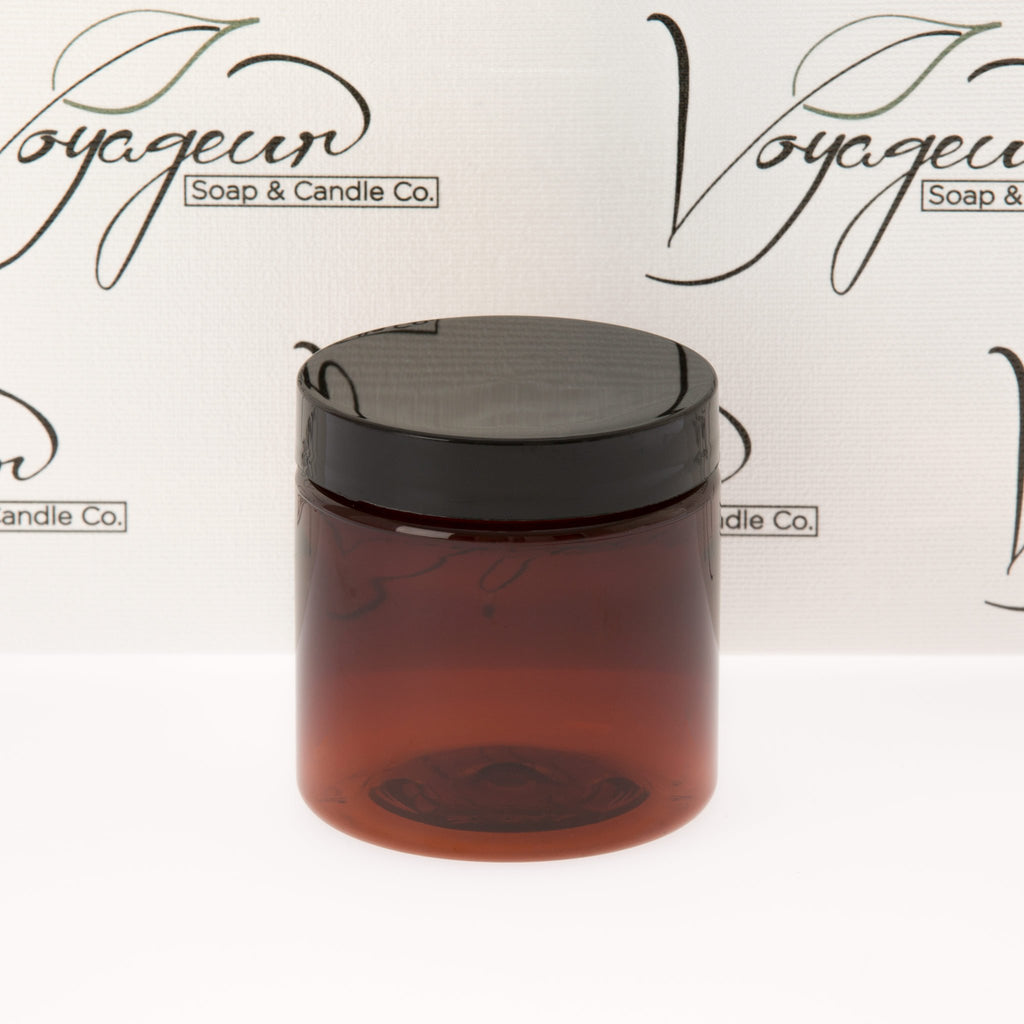 4 oz Amber Straight Sided Jar with Black Flat Gloss Smooth Cap