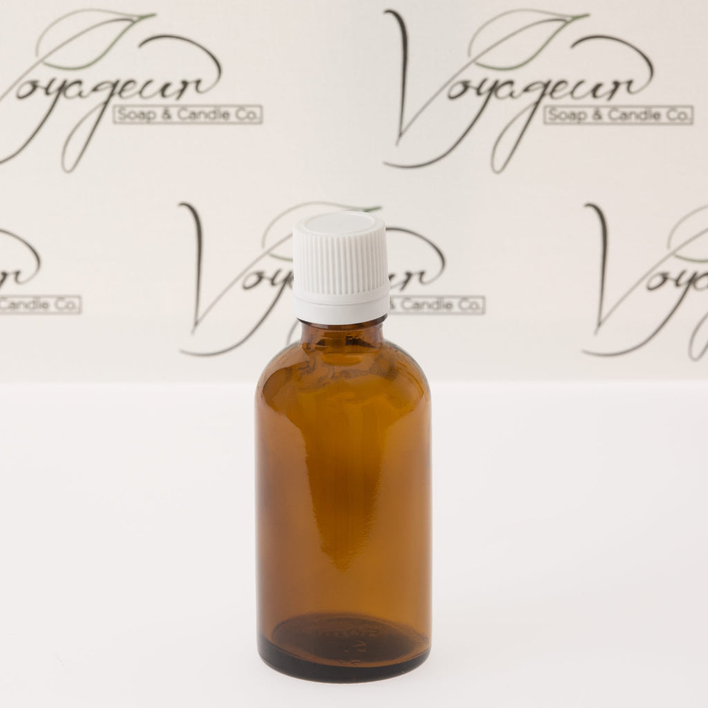 50 ml Amber Essential Oil Bottle with White Dropper Cap