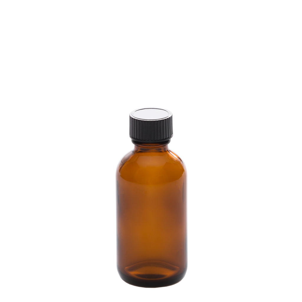50 ml Amber Glass Bottle with 20-400 Black Phenolic Cap