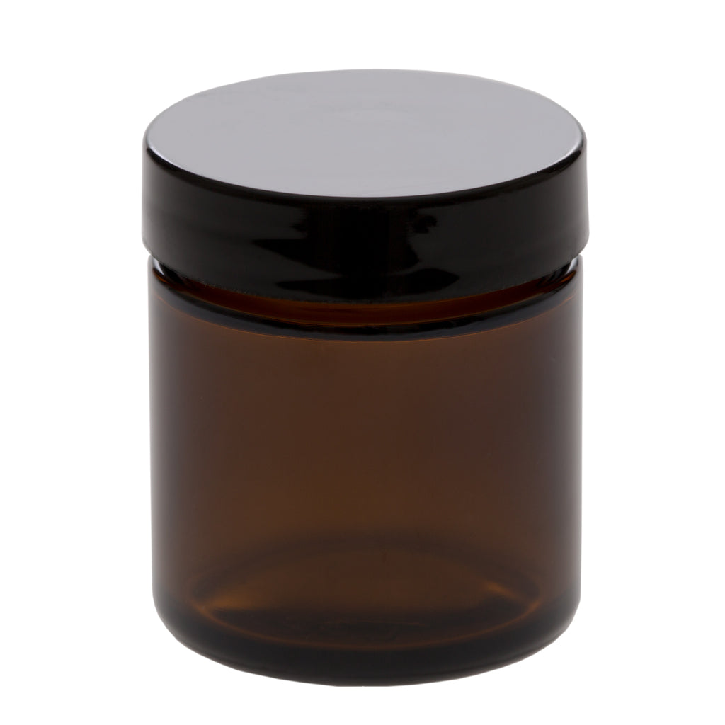 50 ml Amber Glass Jar with 45-400 Black Gloss Smooth Cap