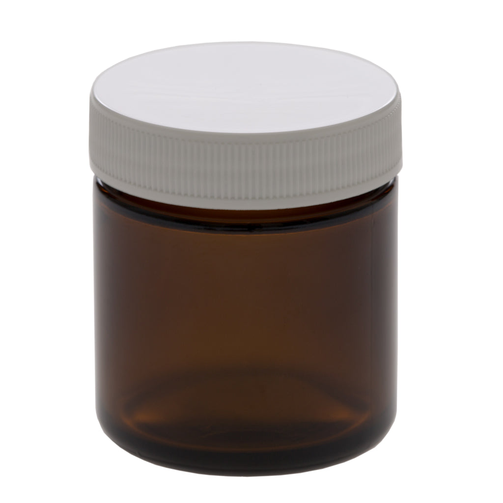 50 ml Amber Glass Jar with 45-400 White Ribbed Cap