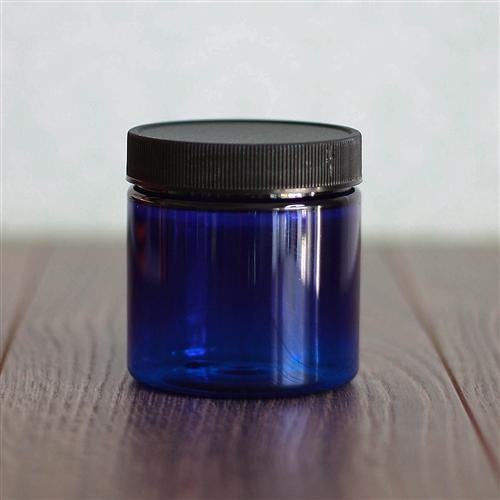 4 oz. Straight Sided Blue Jar with Black Ribbed Flat Cap