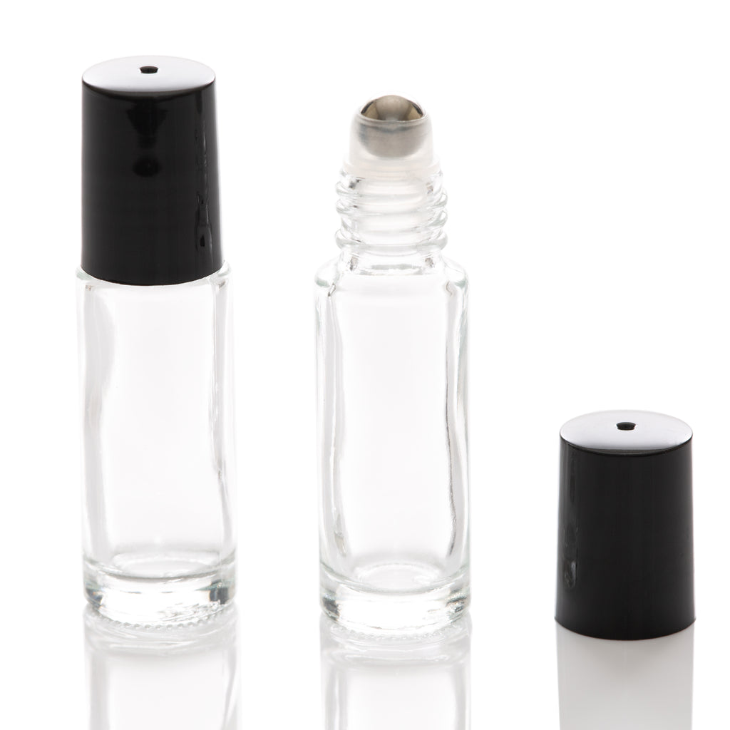 5 ml Clear Glass Rollerball Bottle with Black Cap - Slim