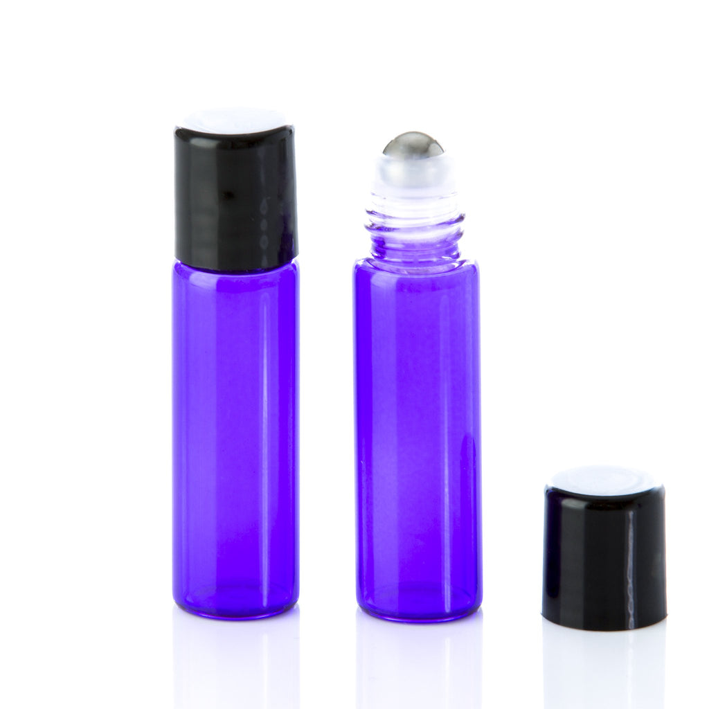 5 ml Purple Glass Rollerball Bottle with Black Cap
