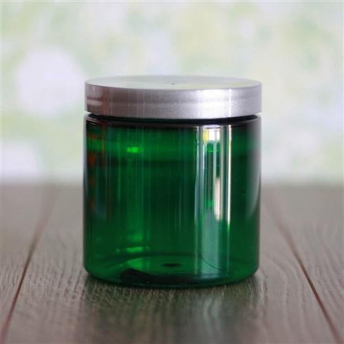 8 oz Green Jar with Silver Cap