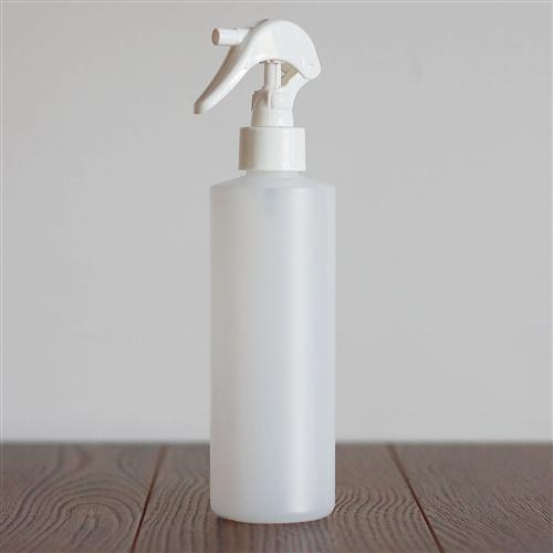 250 ml Natural HDPE Cylinder with Mini Trigger Mister - White