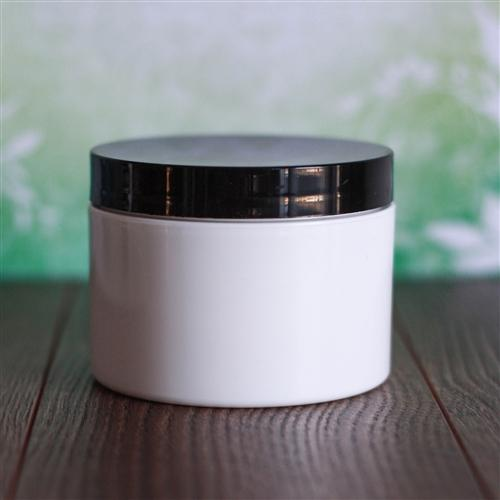 8 oz White Square Base Jar with Flat Gloss Cap - Black