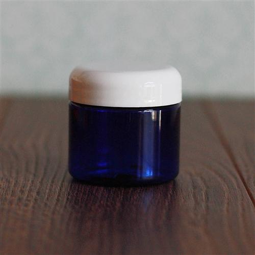 2 oz. Straight Sided Blue Jar with White Dome Cap