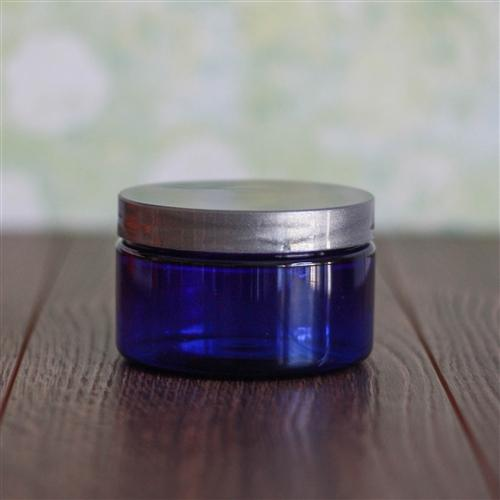 4 oz. Shallow Blue Jar with Silver Gloss Flat Cap