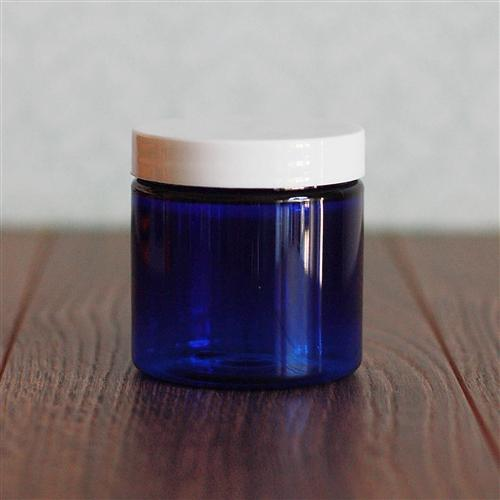 4 oz. Straight Sided Blue Jar with White Gloss Flat Cap