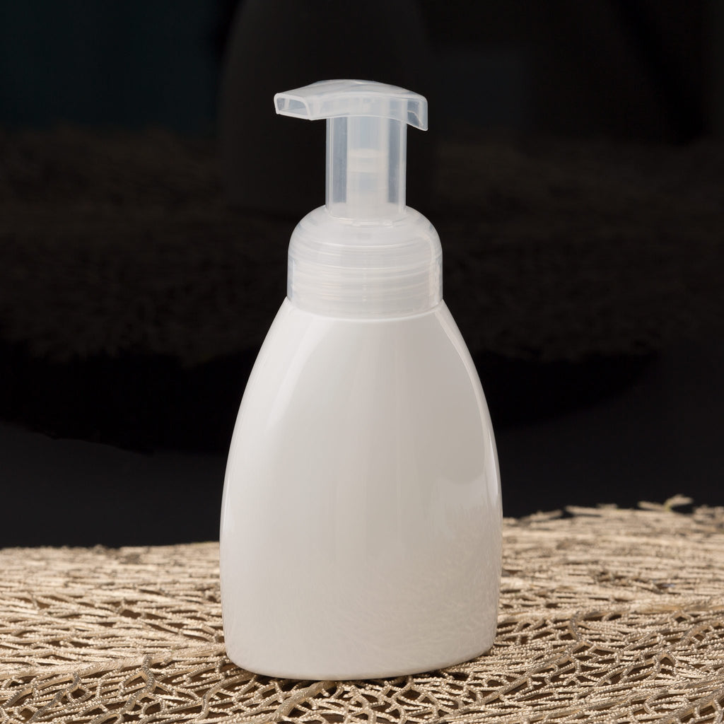 8.4 oz White Oval Foamer Bottle with Natural Pump
