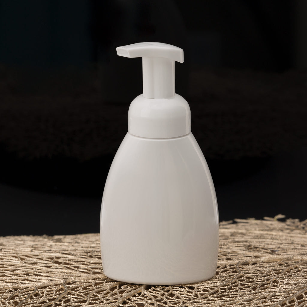 8.4 oz White Oval Foamer Bottle with White Pump