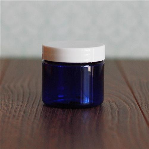 2 oz. Straight Sided Blue Jar with White Gloss Flat Cap