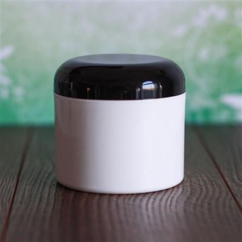 4 oz White Square Base Jar with Dome Cap - Black