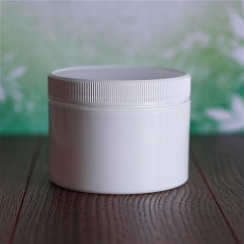 8 oz White Square Base Jar with Flat Ribbed Cap - White