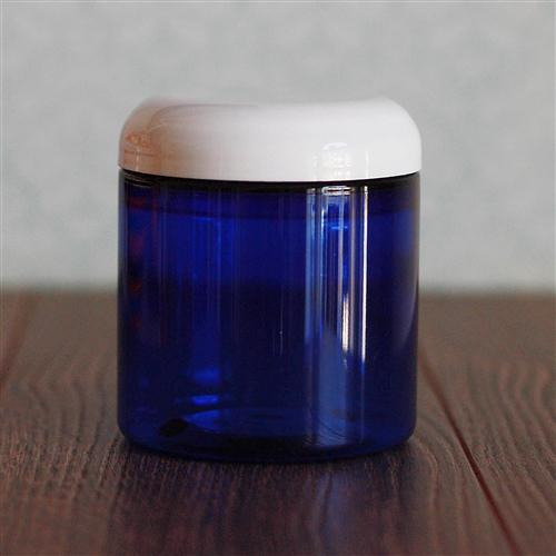 8 oz. Straight Sided Blue Jar with White Dome Cap
