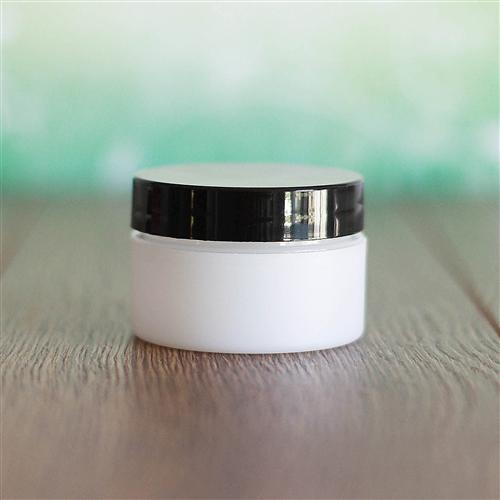 0.5 oz Frosted Jar with Flat Gloss Cap - Black