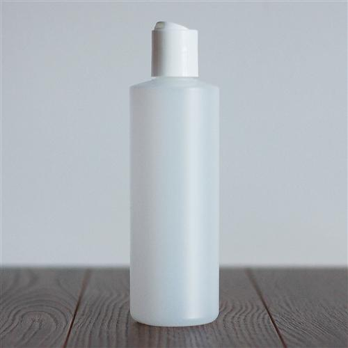 250 ml Natural HDPE Cylinder with Disc Cap - White