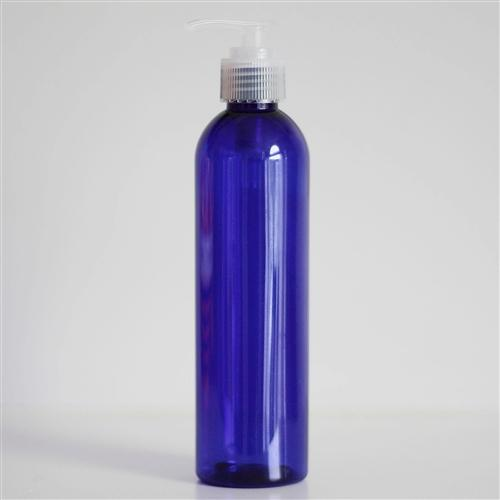 8 oz Blue PET Bullet with Pump - Natural