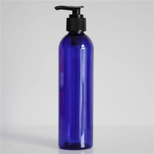 8 oz Blue PET Bullet with Pump - Black