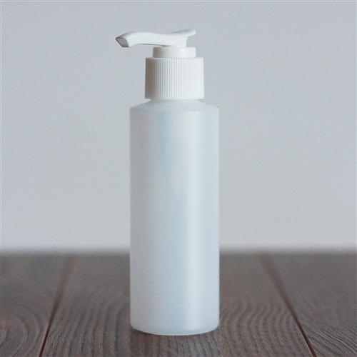 120 ml Natural HDPE Cylinder with Pump - White