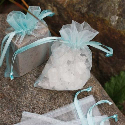 "4"" x 6"" Organza Bag - Ice Blue"