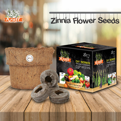 DIY Series Box Of ZINNIA DAHLIA FLOWER MIX Flower Seeds With Organic Pot & Germination Medium Coin