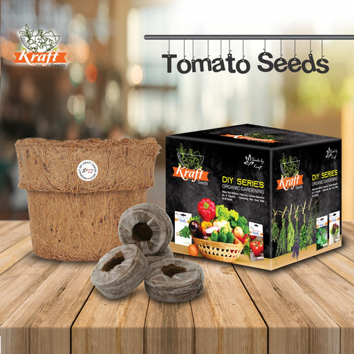 DIY Series Box Of TOMATO Vegetables Seeds & Organic Pot and Germination Medium Coin