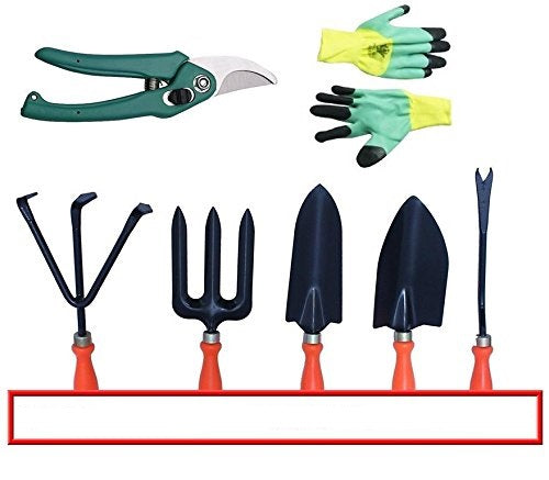 Spectacular Gardening Tools Set with Heavy Garden Cut Tool & a Pair Hand Gloves (Orange Handle)
