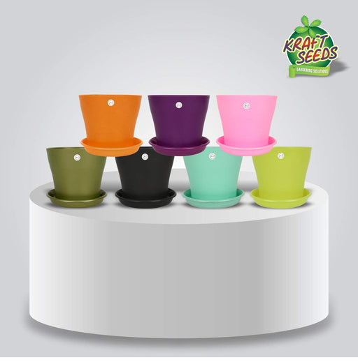 Kraft Seeds! Colourful, Attractive, Beautiful & Perfect Plastic Flower Pots - Small Size with 6- inch Diameter Pots & Bottom Tray with Best Soothing Colours -Perfect for Home & Office Décor (Set of 8)