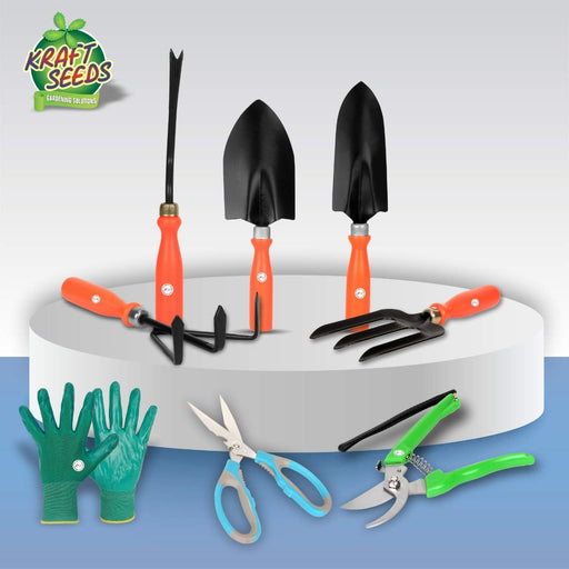 Kraft Seeds! Amazing's Choice |Gardening Tools Set –Top 5 Heavy Duty Garden Tool Set with Non- Slip Plastic Handle –Garden Tools with Gloves & Cutter & Scissor -Great Gardening Gift for Men & Women