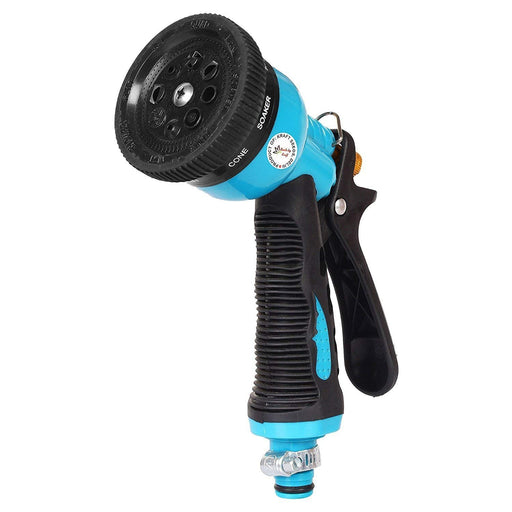 Garden Hose Spray Nozzle with 8 Adjustable High-Pressure Water Patterns (Multicolour)