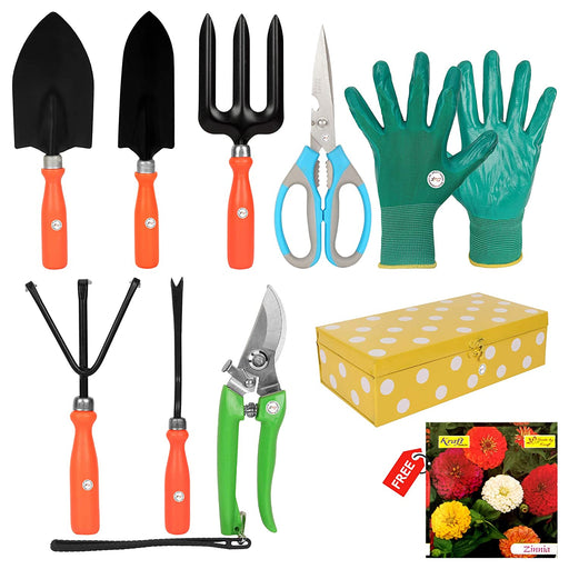 Gardening Tools Set With Storage Box and Heavy Gardening Cut Tool & 1 Pair Hand Gloves