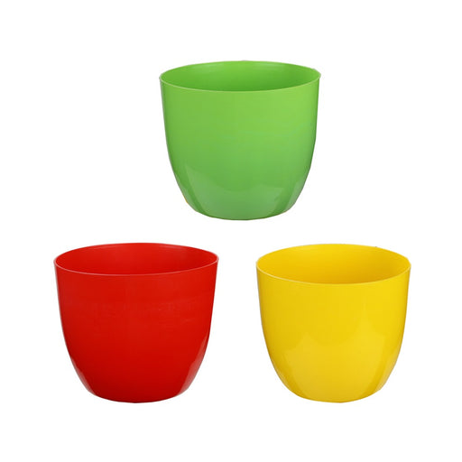 Kraft Seeds Planter Sunshine Elegance Round Solid Look and Feel Pots for Home & Balcony Garden 18.5cm Diameter (Pack of 3)
