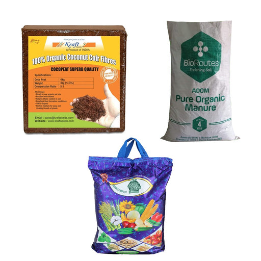 Kraft Seeds Vermicompost 4kg & Cocopeat 4kg & 4kg Organic Manure in One Trio Organic Manure Pack - Expands Upto 150Ltrs of Manure When Mixed Together